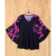 Silverthread Bougainville Print Flared Top Black & Magenta
