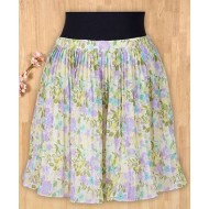 Silverthread Crinkled Printed Skirt Multicolor