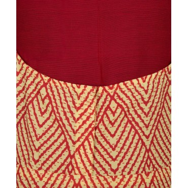 Silverthread Printed Dungree Skirt With Plain Top Red & Yellow