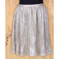 Silverthread Crinkled Printed Skirt Golden