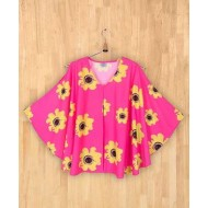 Silverthread Sunflower Print Flared Top Fuschia Pink