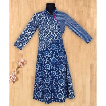 Silverthread Fusing Block Printed Pocket Dress Indigo