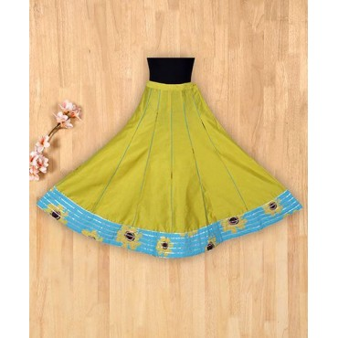 Silverthread Sunflower Printed Top With Bordered Skirt Blue And Lime
