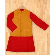 Silverthread Stylish Kurta With Nehru Jacket Red & Mustard Yellow