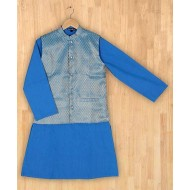 Silverthread Stylish Kurta With Nehru Jacket Blue
