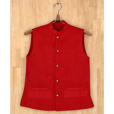 Silverthread Stylish Nehru Jacket Red