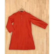 Silverthread Mandarin Collar Plain Kurta Orange