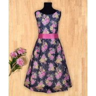 Silverthread Floral Print With Ribbon Belt Dress Blue & Pink