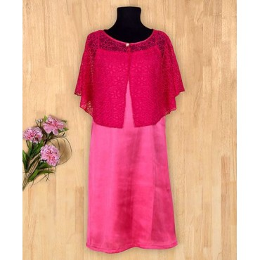 Silverthread Stain Knee Length Dress With Cape Dark Pink