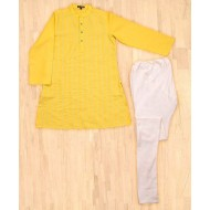 Silverthread Trendy Kurta With Churidar Set, Yellow