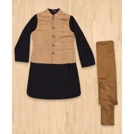Silverthread Kurta With Jacket & Churidar Set, Black & Gold