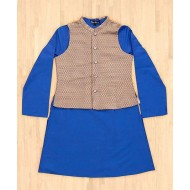 Silverthread Kurta With Jacket Set, Blue