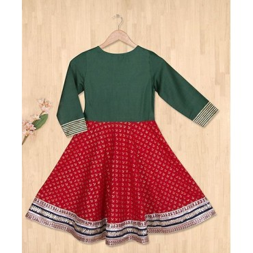 Silverthread Anarkali Kurta With Skirt, Green & Red