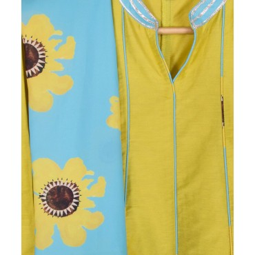 Silverthread Kalidar Kurta With Dupatta Set, Yellow & Blue