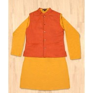 Silverthread Festive Kurta With Jacket Set, Yellow