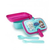 Disney Frozen Lunch Box With Handle, Pink And Green