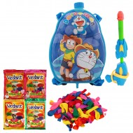 Holi Pichkari Back Pack Cartoon Tank Squirter F2 With Gulal Balloons - Blue