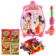 Holi Pichkari Back Pack Cartoon Tank Squirter F4 With Gulal Balloons - Pink