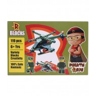 Chhota Bheem Mighty Raju R Blocks 119 pcs Military Helicopter,Olive Green