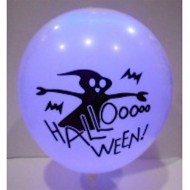 Halloween Printed Led Latex Balloons White Colour Pack of 5