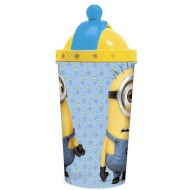 Minions Stor 3D Top Canteen Plastic Tumbler, Blue Yellow
