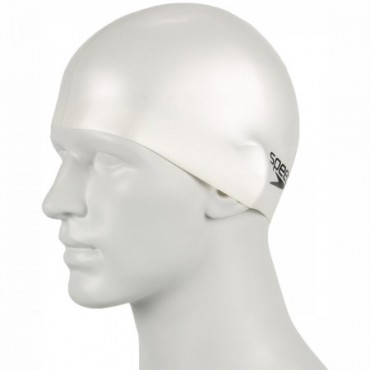 Speedo Plain Moulded Silicone Swimming Cap,White