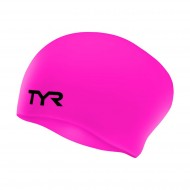 TYR Long Hair WrinkleFree Swimming Cap,Pink