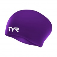 TYR Long Hair WrinkleFree Swimming Cap,Purple