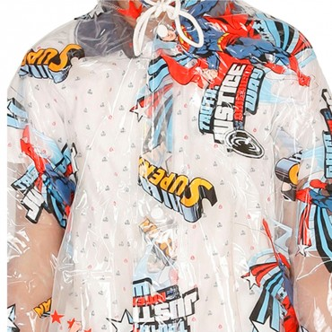 Zeel Transparent Superman Printed Long Raincoat for Boys Size 27""