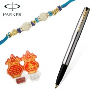 Parker Frontier Stainless Stell Gold Trim Roller Ball Pen with Premium Rakhi