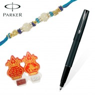 Parker Frontier Matt Black CT Roller Ball Pen with Prem Rakhi