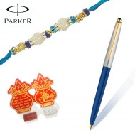 Parker Galaxy Standard Gold Trim Blue Ball Pen with Prem Rakhi
