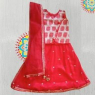 Raspberry Kidzzz Chanderi Choli Lehanga Set with Dupatta,White & Red