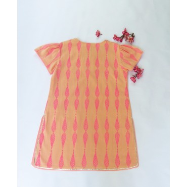 Two Feet Orange-Pink Willow Sequined Cotton Kurti