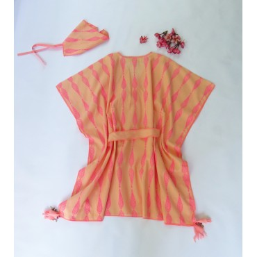 Two Feet Orange-Pink Willow Havelock Cotton Kaftan