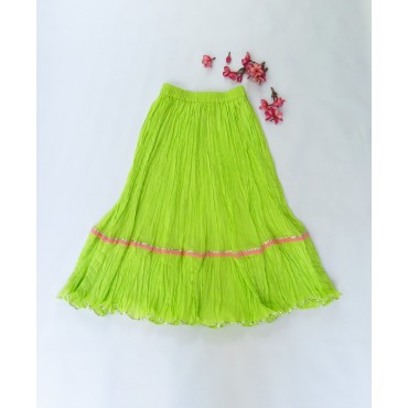 Two Feet Green-Pink Elasticated-Waist Crinkled Cotton Skirt with Gota Patti