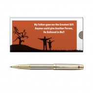 Parker IM Brushed Metal GT RB Pen with Dad Quote 1