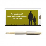 Parker IM Brushed Metal GT RB Pen with Dad Quote 2