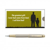 Parker IM Brushed Metal GT FP PenMedium Nib with Dad Quote 2