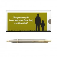 Parker IM Brushed Metal GT BP Pen with Dad Quote 2
