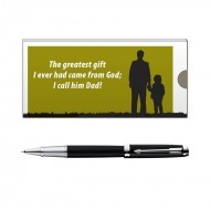 Parker Ambient Laque Black CT RB Pen with Dad Quote 2