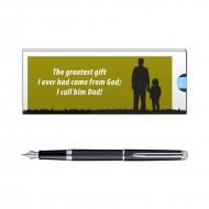 Waterman Hemisphere Matt Black CT FP PenMedium Nib with Dad Quote 2