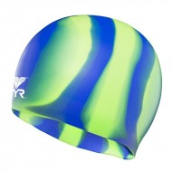 TYR Multi Color Silicone Cap - Green/Blue