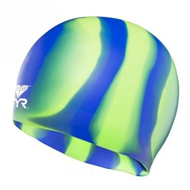 TYR Multi Color Silicone Cap - Green/Blue