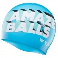 TYR Amaze Balls Swim Silicone Cap - Blue/White