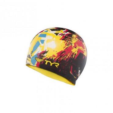 TYR The King Swim Silicone Cap - Black/Yellow
