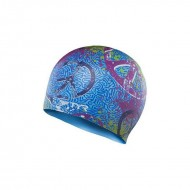 TYR Love Happiness Swim Silicone Cap - Blue/Pink