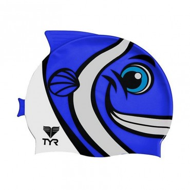 TYR Happy Fish Swim Silicone Cap - Blue