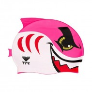 TYR Shark Swim Silicone Cap - Pink