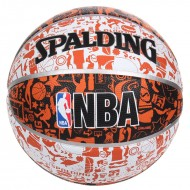 Spalding NBA GRAFFITI Basket Ball - Size 7 (White/Black/Orange )